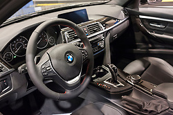 CHARLOTTE, NC, USA - November 11, 2015: BMW 328i on display during the 2015 Charlotte International Auto Show at the Charlotte Convention Center in downtown Charlotte.