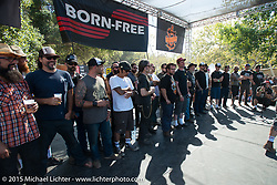 Invitational builders on stage on Day one of the Born Free Vintage Chopper and Classic Motorcycle Show at the Oak Canyon Ranch in Silverado, CA. USA. Saturday, June 28, 2014.  Photography ©2014 Michael Lichter.