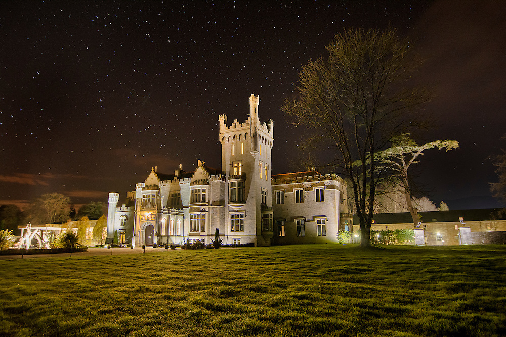 The stunning Lough Eske Castle on a clear night in Co Donegal, Ireland.