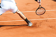Sideslip and Print in the sand during the Roland Garros French Tennis Open 2018, Preview, on May 21 to 26, 2018, at the Roland Garros Stadium in Paris, France - Photo Pierre Charlier / ProSportsImages / DPPI