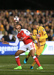 20 February 2017 - The FA Cup - (5th Round) - Sutton United v Arsenal - Jeff Reine-Adelaide of Arsenal in action with Craig Eastmond of Sutton United - Photo: Marc Atkins / Offside.