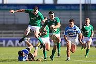 Max Deegan of Ireland © makes a break. World Rugby U20 Championship 2016,  Semi Final match,  Match 23  , Ireland U20's  v Argentina U20's at the Manchester city Academy Stadium in Manchester, Lancs on Monday 20th June 2016, pic by  Andrew Orchard, Andrew Orchard sports photography.