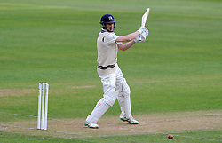 Middlesex's Adam Voges cuts the ball off the bowling of Somerset's Jamie Overton. - Photo mandatory by-line: Harry Trump/JMP - Mobile: 07966 386802 - 27/04/15 - SPORT - CRICKET - LVCC Division One - County Championship - Somerset v Middlesex - Day 2 - The County Ground, Taunton, England.