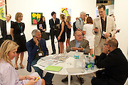 LARRY GAGOSIAN; DOUG KRAMER, ON THE GAGOSIAN STAND, , Opening of Miami Art Basel 2011, Miami Beach. 30 November 2011.