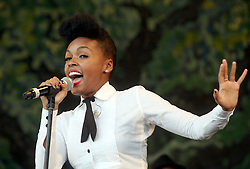 29 April 2012. New Orleans, Louisiana,  USA. <br /> New Orleans Jazz and Heritage Festival. <br /> Janelle Monáe, award winning R&B soul singer.<br /> Photo; Charlie Varley/varleypix.com