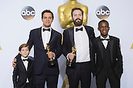 """88th Academy Awards press room.<br /> Best live action short winners Benjamin Cleary and Shan Christopher Ogiluy for the film """"Stutterer."""""""