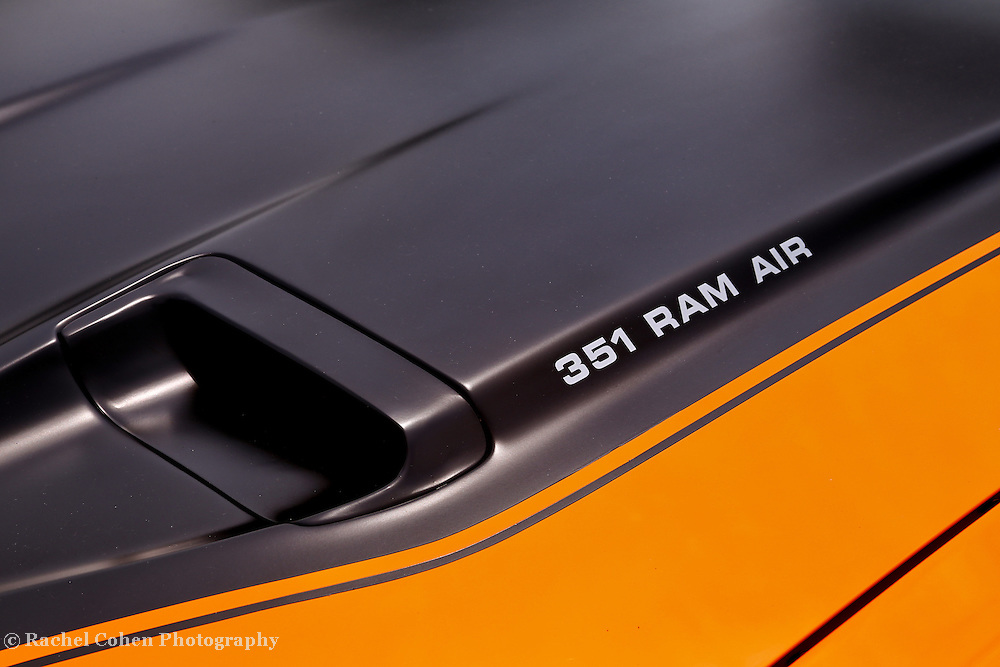 """""""351 RAM AIR""""<br /> <br /> Cool American muscle car detailing in the 351 RAM AIR. Clean lines and curves. Car lovers!!<br /> <br /> Cars and their Details by Rachel Cohen"""