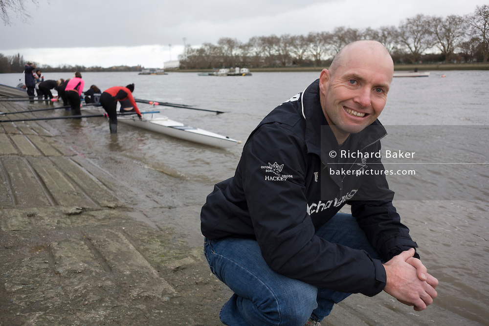 A portrait of the Australian born Oxford University veteran rower James Ditzell, at 45 currently the oldest ever rower in the history of the boat race. He trains with the rest of his squad on the Thames from Putney in West London under race conditions, hoping that as race day (April 6th 2012), his times are good enough for a seat in one of two of Oxford boats. First raced in 1829 the boat race between Oxford and Cambridge unbiversities is one of the oldest sporting events in the world. It is nowadays watched by thousands along the banks of The Thames Tideway, between Putney and Mortlake in London and by millions more on TV around the world.