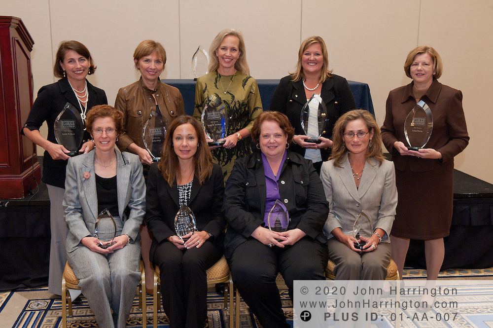 The award winners (from L to R)(back row) Judith Davis, EVP, Chief Legal Officer and Corporate Secretary, BlueCross BlueShield of SC, Kathy Owen, CIO and SVP of Global Services, Unum, Janice Abraham, President and CEO, United Educators Insurance, a Reciprocal Risk Retention Group, Tricia Mackechnie, SVP and CIO Consumer Markets & Enterprise Operations Technology, JoAnn Martin, President and CEO, Ameritas Holding Co., (front row) Cyndy Smith, VP, Director of Technology, Haylor, Freyer &Coon, Belen Tokarski, AVP Technology and Agency Solutions, CAN, Denise Blankinship, VP Information & Data Support Church Pension Group and Yvette Gonzales, CIO, VP of Information Services, Shelter Mutual Insurance Co. at the Women in Insurance Leadership Forum at the National Harbor in Maryland on September 18th, 2011.