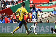 Ekow Elliott of Thatcham Town (11) and Joe Carter of Stockton Town (2) in action during the FA Vase match between Stockton Town and Thatcham Town at Wembley Stadium, London, England on 20 May 2018. Picture by Stephen Wright