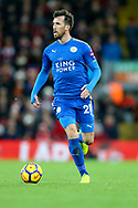 Christian Fuchs of Leicester City in action. Premier League match, Liverpool v Leicester City at the Anfield stadium in Liverpool, Merseyside on Saturday 30th December 2017.<br /> pic by Chris Stading, Andrew Orchard sports photography.