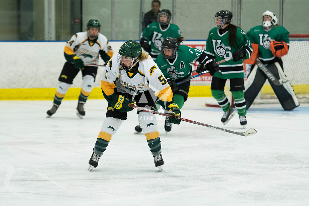 in action during the Women's Hockey Homeopener on October 7 at Co-operators arena. Credit: Arthur Ward/Arthur Images