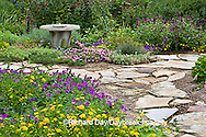 63821-19407 Flower garden with stone path, birdbath. Homestead Purple Verbena, yellow lantana, sedum, Gomphrena IL