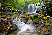 Spring green colors surround Brasstown Falls, Oconee County in upstate South Carolina.