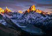 Dawn Cerro Torre & Cerro FitzRoy, Los Glaciares, National Park, Patagonia, Argentina