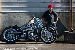 Hiromichi Nishiyama with his Cycle West heavily engraved rigid Harley-Davidson Shovelhead after the Mooneyes Yokohama Hot Rod & Custom Show. Japan. December 8, 2016.  Photography ©2016 Michael Lichter.