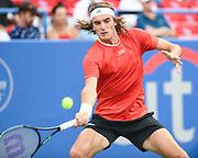 STEFANOS TSITSIPAS hits a forehand at the Rock Creek Tennis Center.
