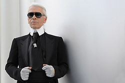Designer Karl Lagerfeld walks the runway at the end of his Chanel fall winter 2008-2009 Haute-Couture collection show in Paris, France on July 1st, 2008. Photo by Thierry Orban/ABACAPRESS.COM
