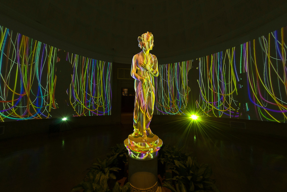 "Loop 2000 video/sound installation by Jennifer Steinkamp and Jimmy Johnson (featuring the statue ""Venus"" by Thomas Hope, Corcoran Gallery of Art, Washington D.C., U.S.A."