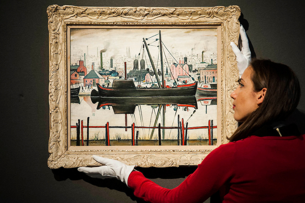 L.S. Lowry, led by Coal Barge - Christie's Modern British and Irish Art Sale which will take place on 19 November 2014. Featuring 35 lots, the auction includes  examples of 20th century British sculpture and painting, such as: John Duncan Fergusson's Poise (estimate: £80,000-120,000); six paintings by L.S. Lowry, led by Coal Barge (estimate: £700,000-1,000,000);  Euan Uglow's masterpiece entitled Three In One (estimate: £500,000-800,000; Figure (Sunion) by Dame Barbara Hepworth (estimate: £600,000-800,000); and sculpture by leading artists of the genre including Henry Moore, Lynn Chadwick, Dame Elisabeth Frink, and Naum Gabo.