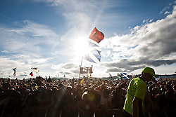 Flags from fans at Jamie T on the Radio One/NME Stage, Friday at T in the Park 2010..Pic ©2010 Michael Schofield. All Rights Reserved.