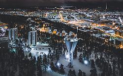 THEMENBILD - Blick auf die finnische Stadt Lahti mit den Lichtern der Stadt im Winter mit Schnee bedeckt mit dem Wasserturm, aufgenommen am 08. Februar 2019 in Lahti, Finnland // View of the Finnish city Lahti with the lights of the city in winter covered with snow with the Water Tower. Lahti, Finland on 2019/02/08. EXPA Pictures © 2019, PhotoCredit: EXPA/ JFK