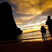 Sillhouettes at sunset, Rai Ley Beach West, Krabi, Thailand