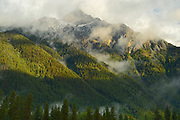 Cloud shrouded mountains<br /> Mt. Robson Provincial Park<br /> British Columbia<br /> Canada
