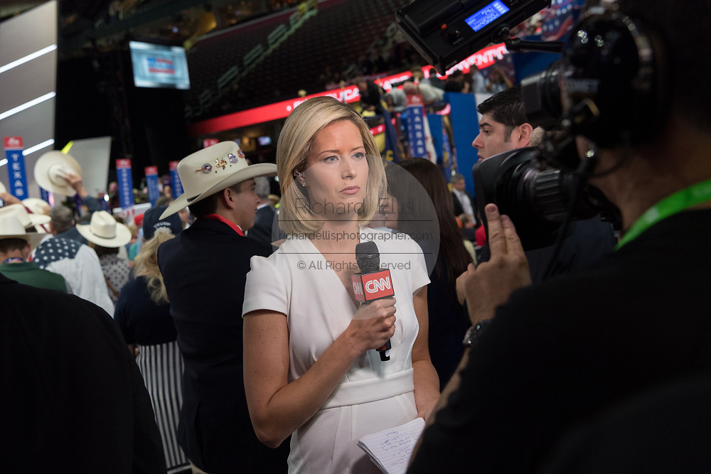 CNN report Pamela Brown during a live report from the Republican National Convention July 20, 2016 in Cleveland, Ohio.
