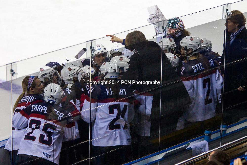Team USA bench,USA-Canada Women's Ice Hockey at the Olympic Winter Games, Sochi 2014