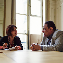 PARIS, FRANCE. OCTOBER 14, 2013. Writer Alaa Al-Aswany with Le Pelerin's journalist (Sophie Laurant) at Acte Sud, the author's publisher. Photo : Antoine Doyen