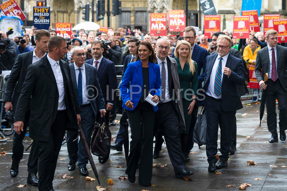 Businesswoman and campaigner Gina Miller, C who launched legal proceedings against Prime Minister Boris Johnsons government over the suspension of parliament smiles after speaking with the media outside the Supreme Court after a ruling that the prorogation of Parliament was unlawful on 24th September 2019 in London, United Kingdom. The Supreme Court  ruled that Prime Minster Boris Johnson acted unlawfully when he requested that the Queen prorogue parliament for more than a month, and that parliamentariansshould reconvene as soon as possible.