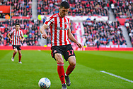 Lewis Morgan of Sunderland (17) in action during the EFL Sky Bet League 1 first leg Play Off match between Sunderland and Portsmouth at the Stadium Of Light, Sunderland, England on 11 May 2019.