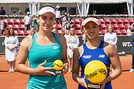 Danka Kovinic and Misaki Doi during the 2019 Swedish Open in Båstad on July 13, 2019. Photo Credit: Katja Boll/EVENTMEDIA.