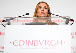 Scottish Parliament Election 2016 Royal Highland Centre Ingliston Edinburgh 05 May 2016; Ash Denham makes her acceptance speech after winning Edinburgh Eastern  during the Scottish Parliament Election 2016, Royal Highland Centre, Ingliston Edinburgh.<br /> <br /> (c) Chris McCluskie | Edinburgh Elite media