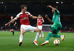 September 20, 2018 - London, England, United Kingdom - Arsenal's Stephan Lichtsteiner (Red).during UAFA Europa League Group E between Arsenal and FC Vorskla Poltava at Emirates stadium , London, England on 20 Sept 2018. (Credit Image: © Action Foto Sport/NurPhoto/ZUMA Press)