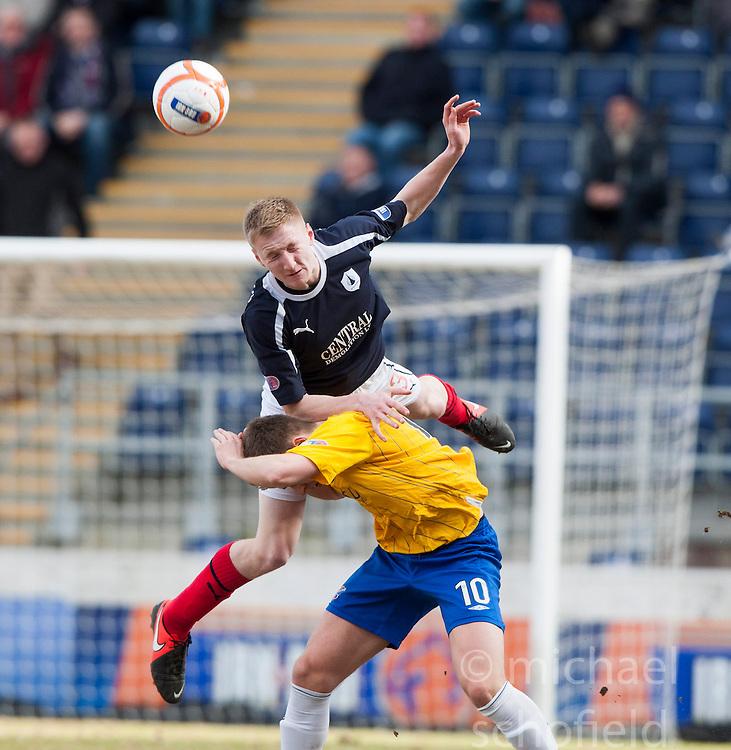 Falkirk's Liam Dick over Cowdenbeath's Greg Stewart..half time : Falkirk 0 v 0 Cowdenbeath, 6/4/2013..©Michael Schofield..