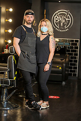 David Gourlay and Amy Hickey at Backstage Barbers 10 Lauriston Street, Edinburgh
