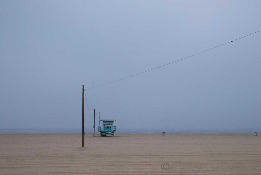 A lifeguard stand on the beach in Santa Monica, California.
