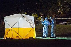 ©Licensed to London News Pictures 25/07/2020     <br /> Chislehurst, UK. A forensic tent on the grass next to the road. A male pedestrian has been involved in a collision with a van in Chislehurst, South East London, The van did not stop. The London air ambulance was called but the man sadly died at the scene a police cordon is in place and at this time it is believed the police are linking this incident to the double stabbing at the Gordon Arms pub in Chislehurst. Photo credit: Grant Falvey/LNP
