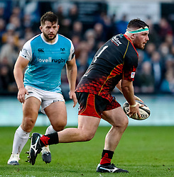Ryan Bevington of Dragons<br /> <br /> Photographer Simon King/Replay Images<br /> <br /> Guinness PRO14 Round 12 - Dragons v Ospreys - Sunday 30th December 2018 - Rodney Parade - Newport<br /> <br /> World Copyright © Replay Images . All rights reserved. info@replayimages.co.uk - http://replayimages.co.uk