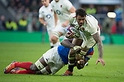 Twickenham, United Kingdom. 7th February, Courtnt Lawes tackled by Yacouba CAMERA, during the England vs France, 2019 Guinness Six Nations Rugby Match   played at  the  RFU Stadium, Twickenham, England, <br /> © PeterSPURRIER: Intersport Images