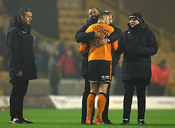 Wolverhampton Wanderers manager Nuno hugs Romain Saiss of Wolverhampton Wanderers - Mandatory by-line: Robbie Stephenson/JMP - 11/04/2018 - FOOTBALL - Molineux - Wolverhampton, England - Wolverhampton Wanderers v Derby County - Sky Bet Championship