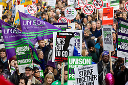 © Licensed to London News Pictures. 30/11/2011. London, UK. Public-sector workers march in London during a nationwide day of strikes against changes to pensions arrangements made by the British Government. Photo credit : Joel Goodman/LNP
