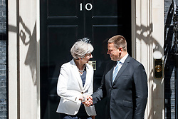© Licensed to London News Pictures. 18/07/2017. London, UK. UK Prime Minister THERESA MAY meets Estonian Prime Minister JURI RATAS in Downing Street, London on Tuesday, 18 July 2017. Photo credit: Tolga Akmen/LNP