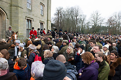 © Licensed to London News Pictures. 26/12/2018. Chiddingstone, UK.Crowds, Old Surrey Burstow and West Kent Boxing day Hunt meet at Chiddingstone Castle,Chiddingstone. Photo credit: Grant Falvey/LNP