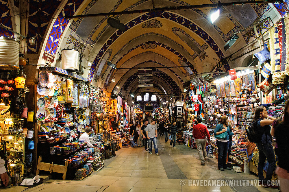 One of the wider central streets in the central core of Istanbul's historic Grand Bazaar. As you move away from the center towards the outer edges of the bazaar the streets get narrower and less touristy.