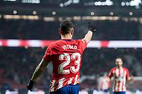 Atletico de Madrid Vitolo Machin celebrating a goal during King's Cup match between Atletico de Madrid and Lleida Esportiu at Wanda Metropolitano in Madrid, Spain. January 09, 2018. (ALTERPHOTOS/Borja B.Hojas)