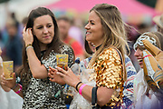 A hen party with a glitter theme -The 2017 Latitude Festival, Henham Park. Suffolk 15 July 2017