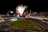 A general view of Target Field during a post-game fireworks show on August 18, 2010 in Minneapolis, Minnesota.